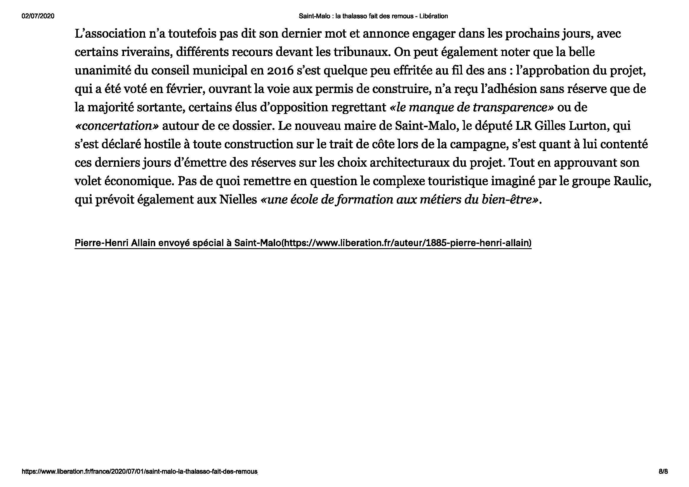 Article Libération La Thalasso Fait Des Remous