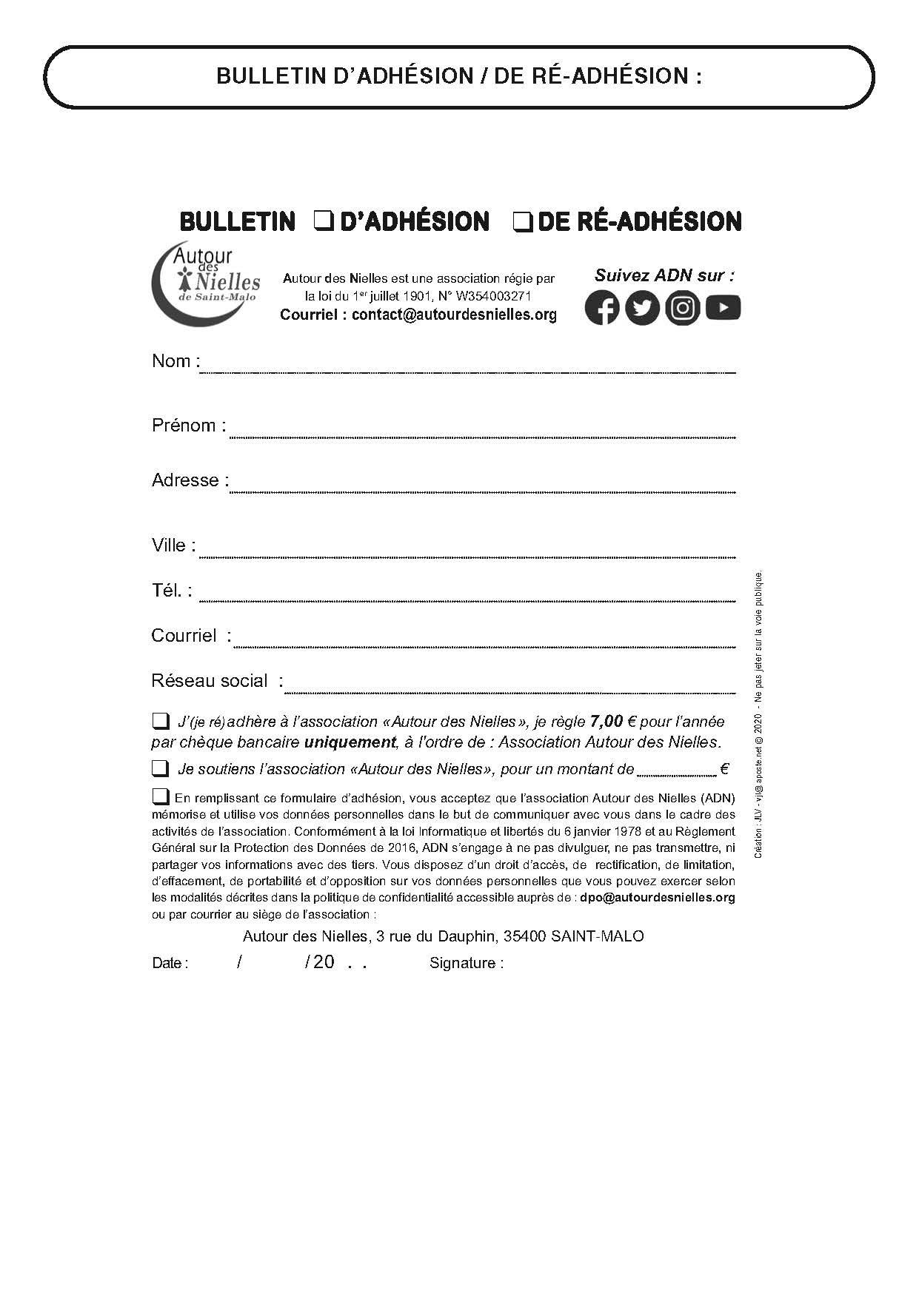 Bulletin Adhésion ADN